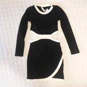 Women's Black and White Cut Out Dress